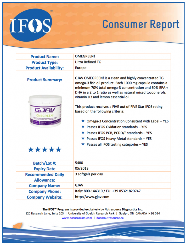 OMEGA-3-CERTIFICATO-IFOS-5-STELLE-CONSUMER-REPORT-OMEGREEN-777x1024